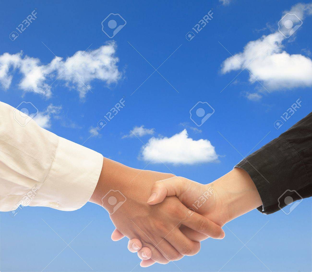 shake hands with blue sky - 11146000