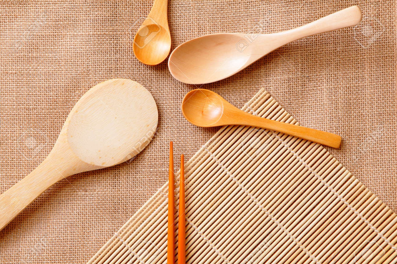 chinese wood tableware on linen tablecloth texture Stock Photo - 11146045 & Chinese Wood Tableware On Linen Tablecloth Texture Stock Photo ...