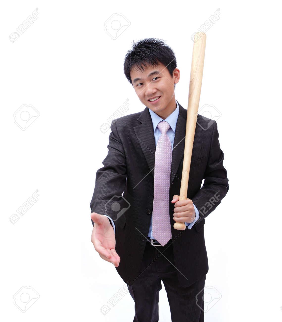 Asian Business man handshake and holding baseball bat Stock Photo - 11344230