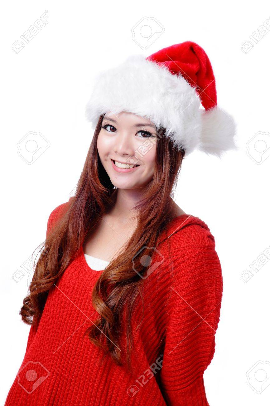 Young Happy Girl Smile with Christmas hat and red cloth Stock Photo - 11561206