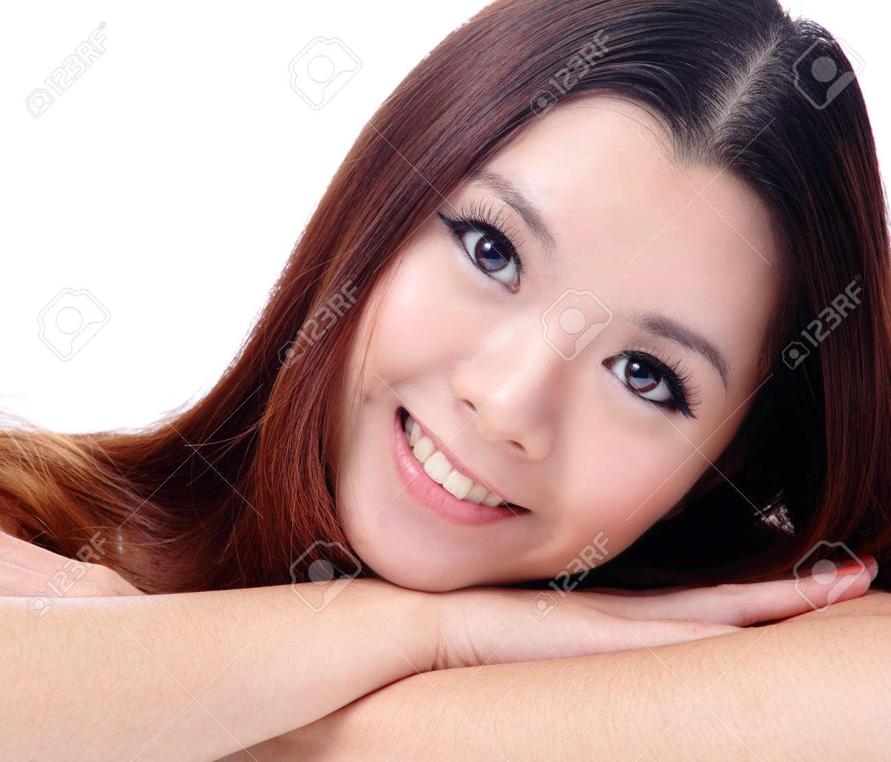 Beautiful Smiling Woman Closeup Portrait. Fresh Gorgeous Young ...