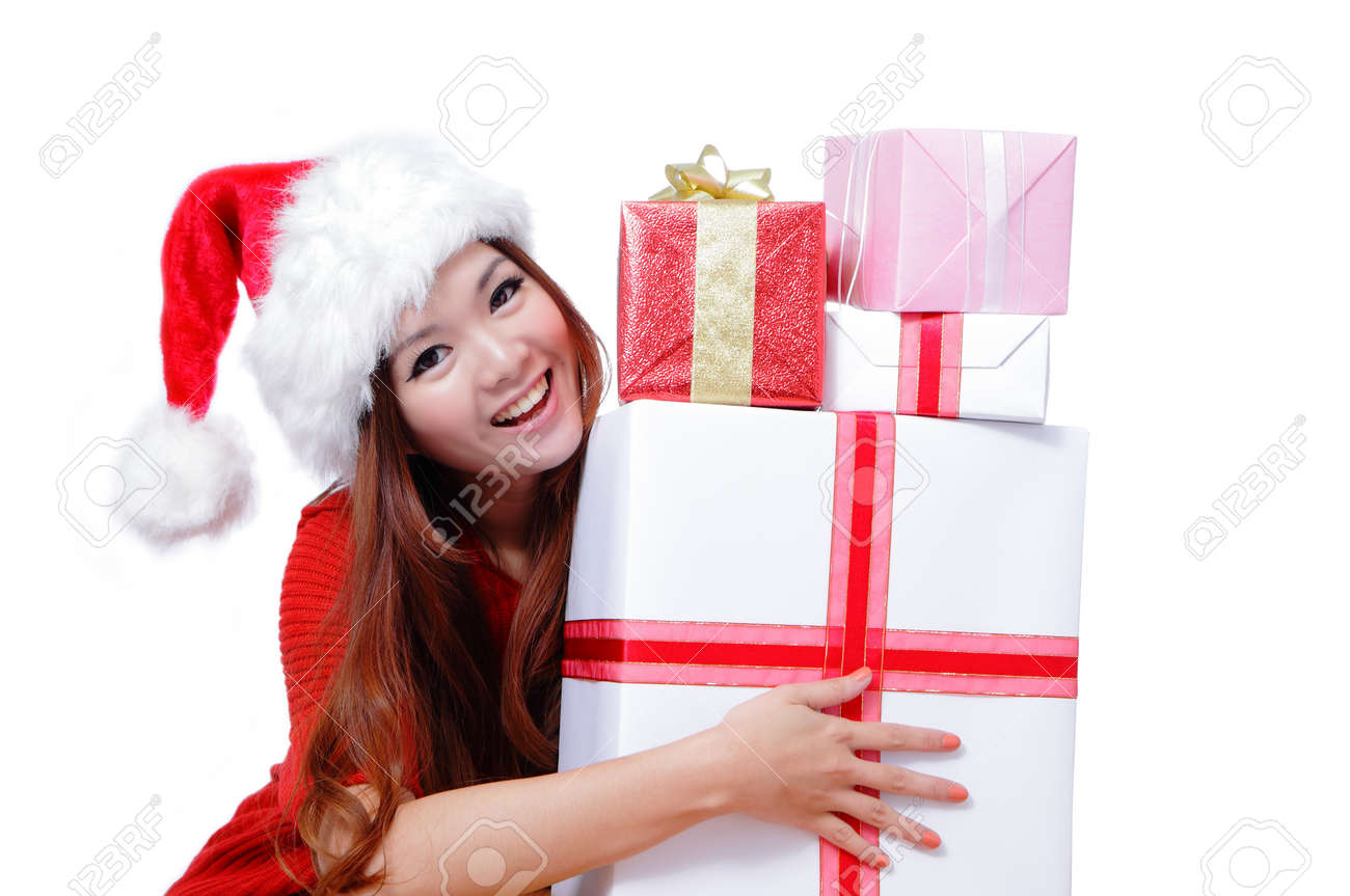 Happy Christmas Woman Smiling Beautiful Face Of Happy Woman In Hat ...