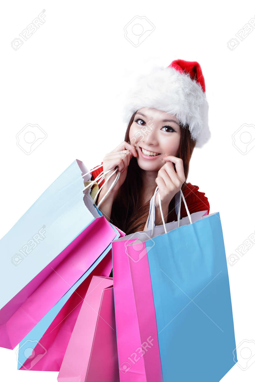 Beautiful Christmas woman happy take shopping bag isolated on white background Stock Photo - 11561108