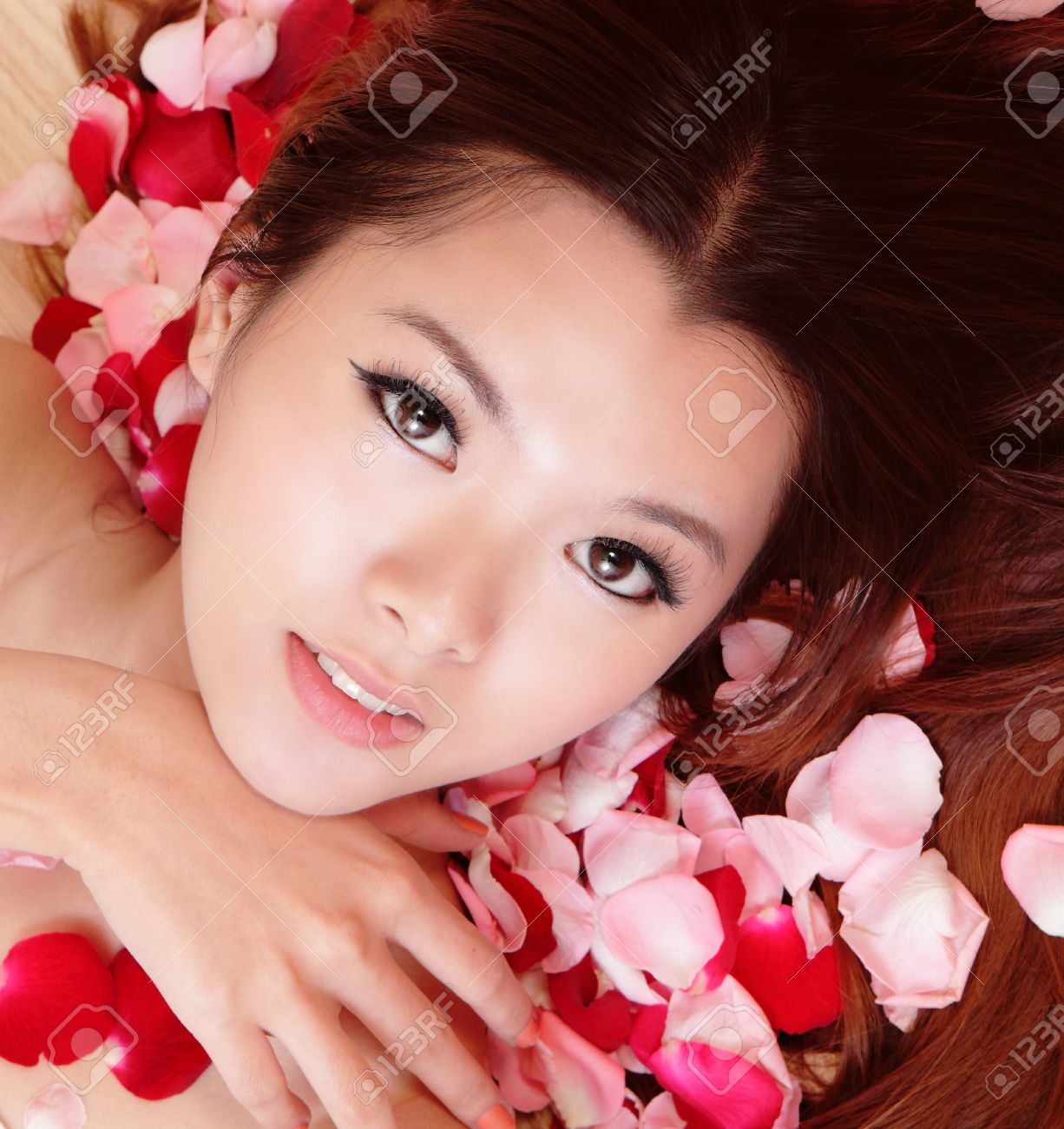 Beauty Asian Woman Face Portrait. Beautiful Spa Model Girl With ...