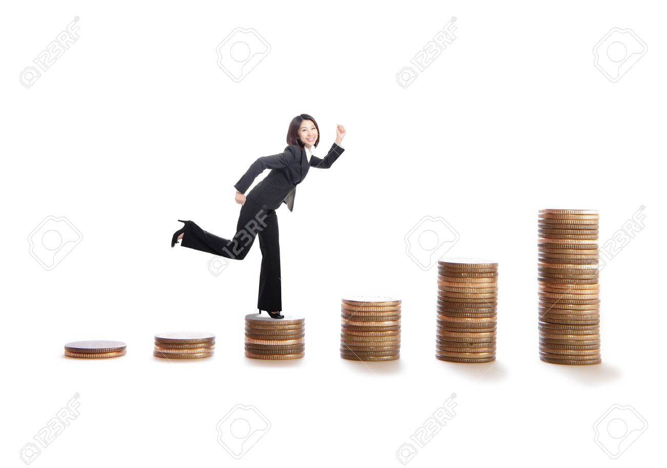 young business woman running on money stairs , model is a asian beauty, isolated on white background Stock Photo - 12527667