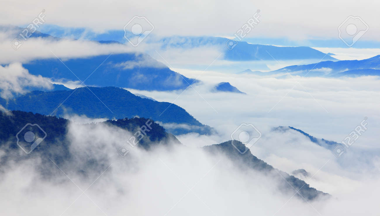Dramatic clouds with mountain silhouette, shot in taiwan asia Stock Photo - 12528628