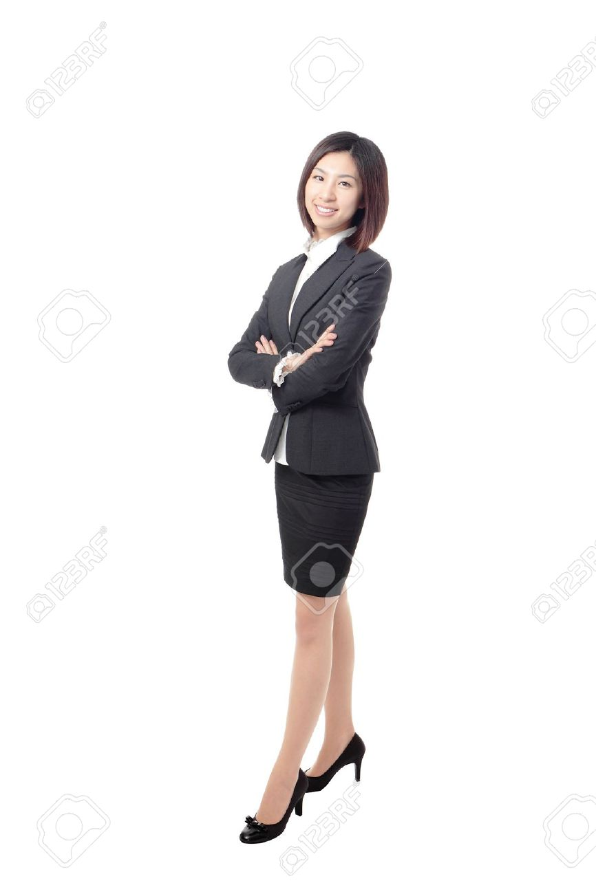 Full length Business woman confident smile standing isolated on white background, model is a asian beauty Stock Photo - 12527922