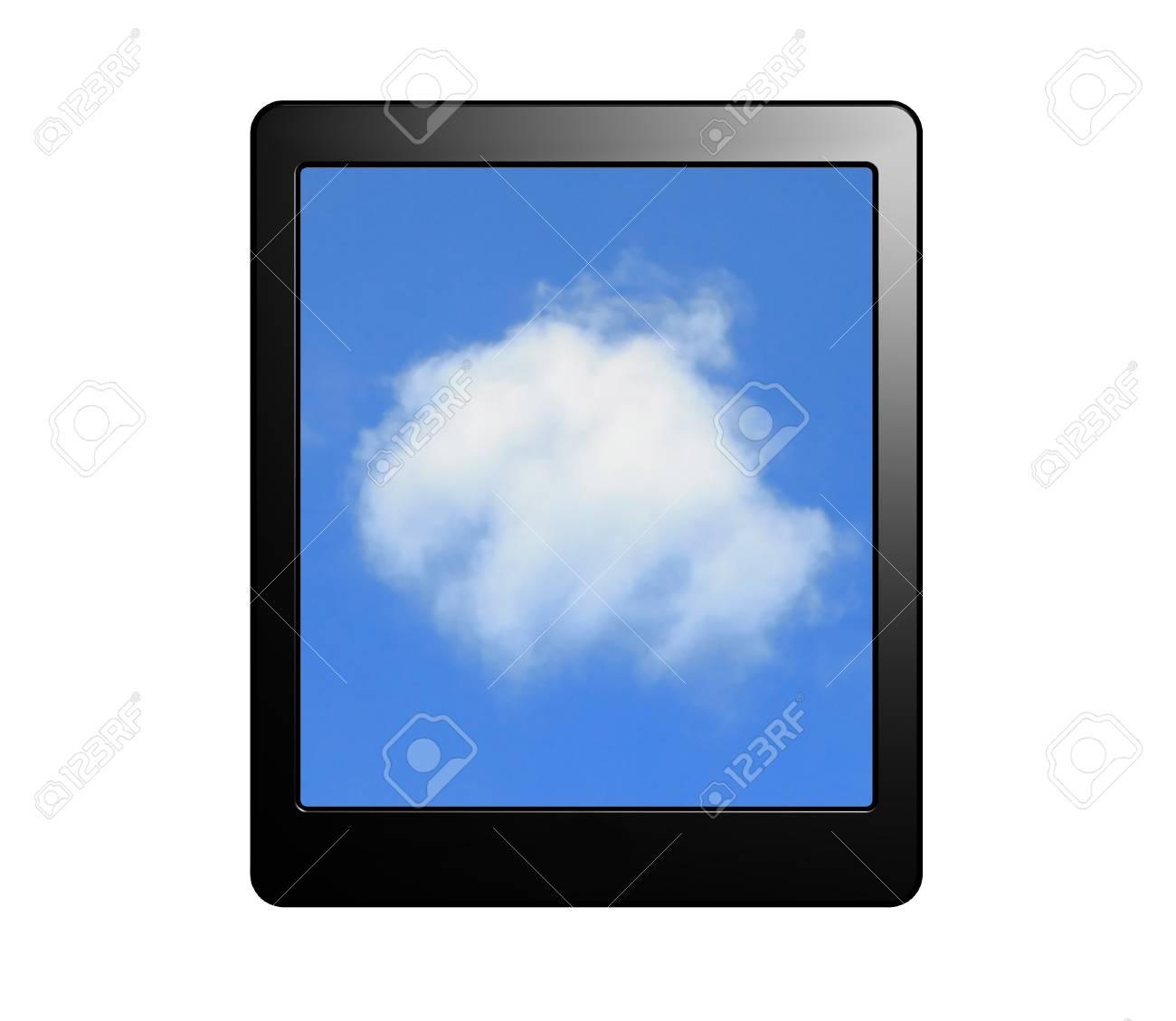 Tablet PC Con Pantalla De Nubes Para El Concepto De Computación En ...
