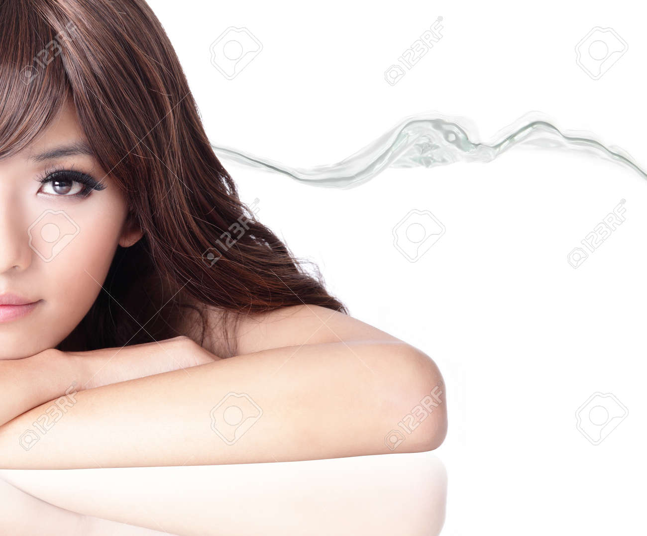 Sexy fashion woman smile face portrait close up with water background isolated on white background, model is a asian beauty Stock Photo - 12922388