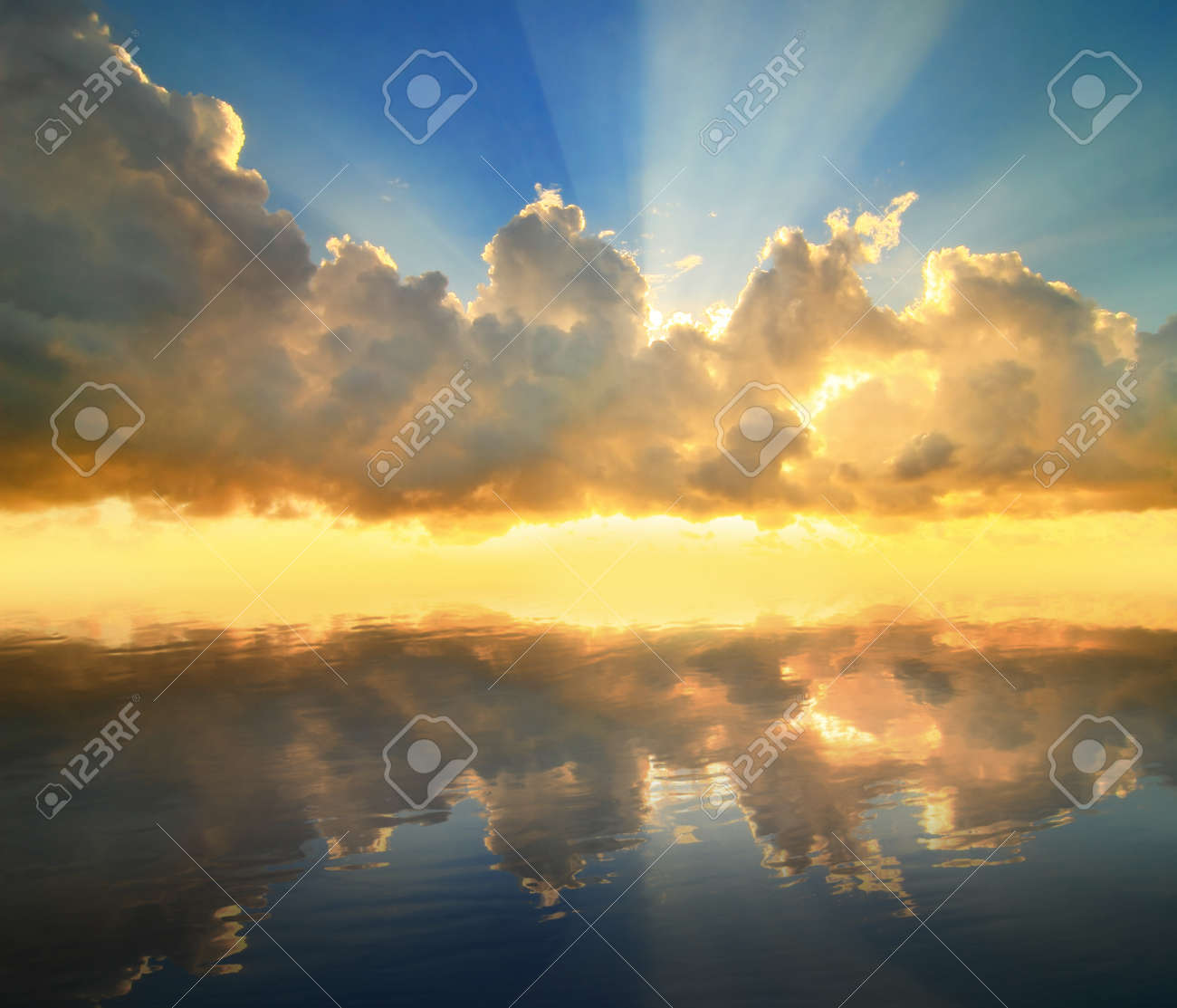 sunset reflected in a water , sky and cloud, sunshine Stock Photo - 13188852