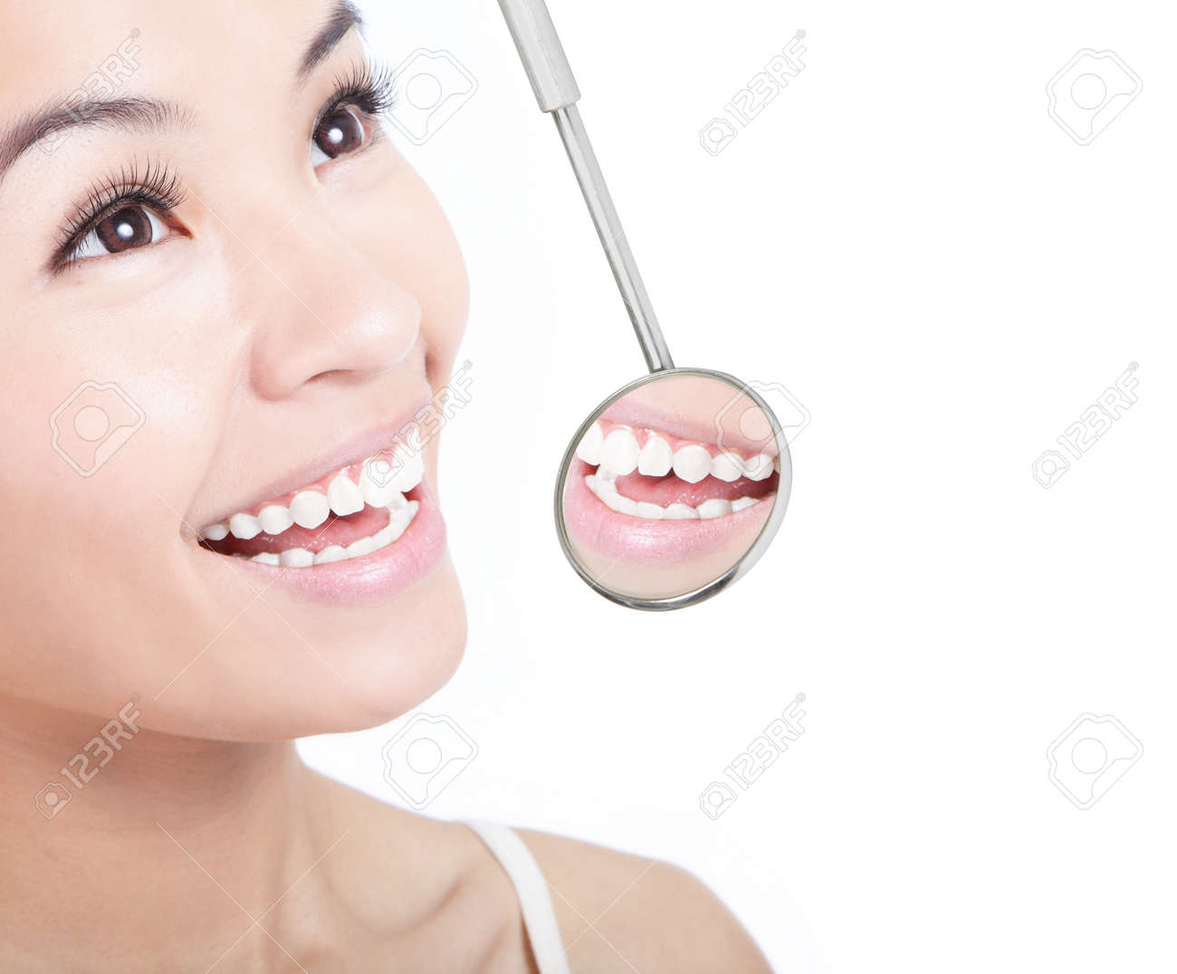 Healthy Woman Teeth And A Dentist Mouth Mirror Isolated On White  Background, Model Is A How To Become A Successful