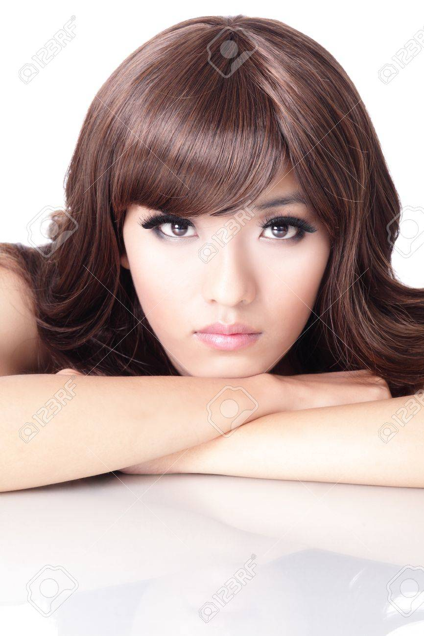 Fashion woman face portrait close up with white background, model is a asian beauty Stock Photo - 13577999