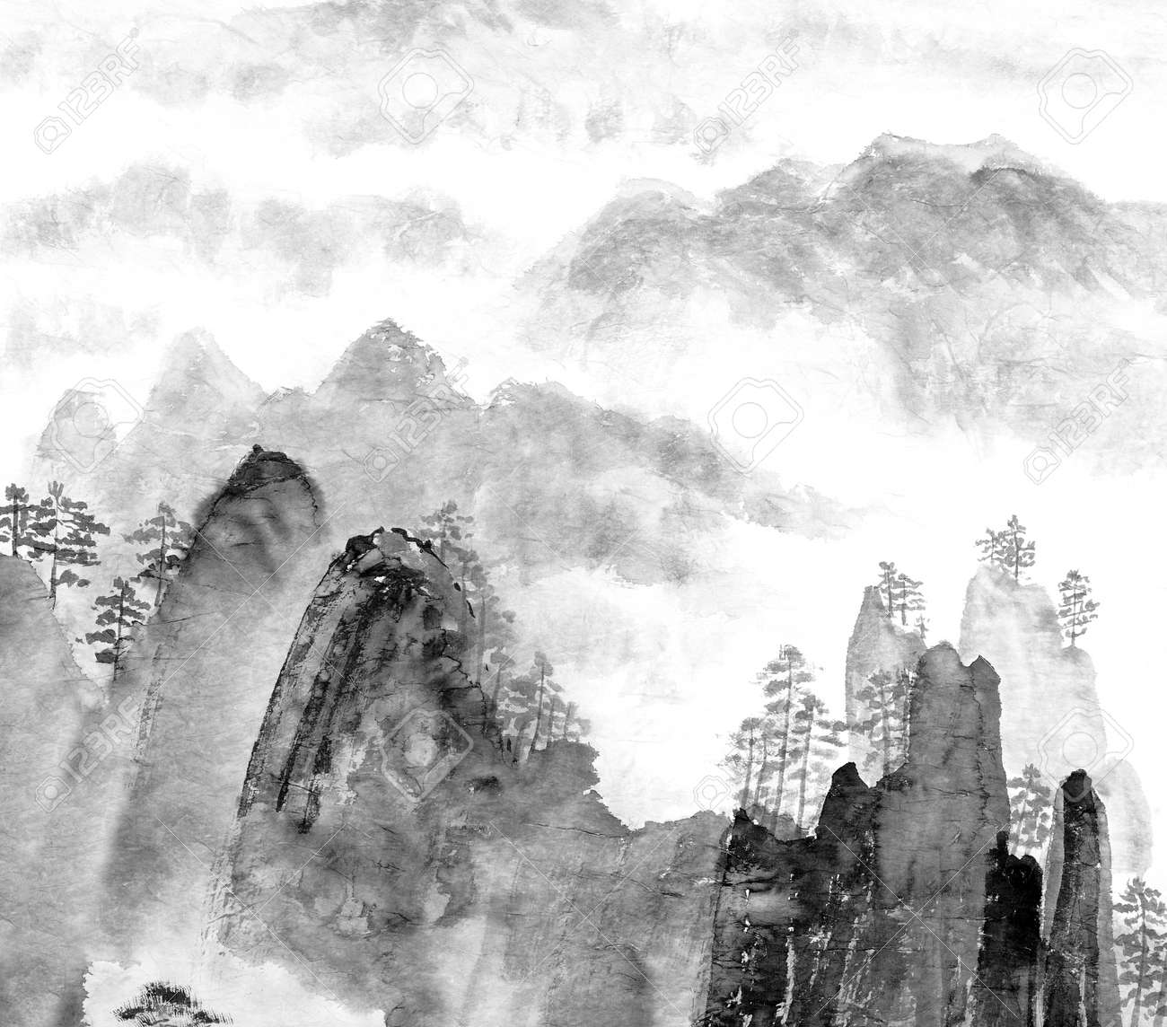 Traditional Chinese painting of high mountain landscape, monochrome tone Stock Photo - 14097566
