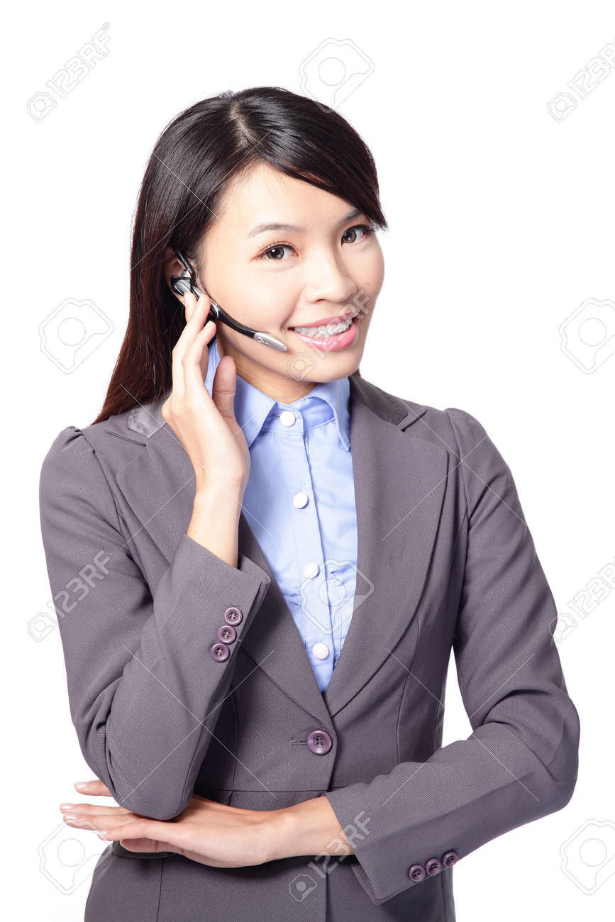 Female customer support operator with headset and smiling isolated on white background, asian woman Stock Photo - 16790914