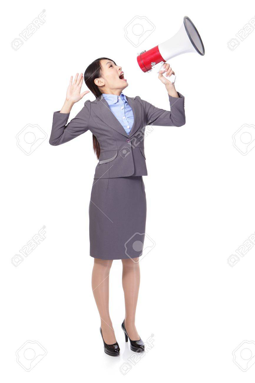asian businesswoman using megaphone with energetic face Stock Photo - 18201275