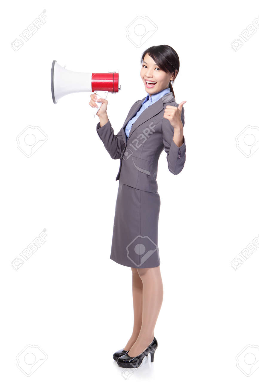 asian businesswoman holding megaphone ,thumbs up Stock Photo - 18201274