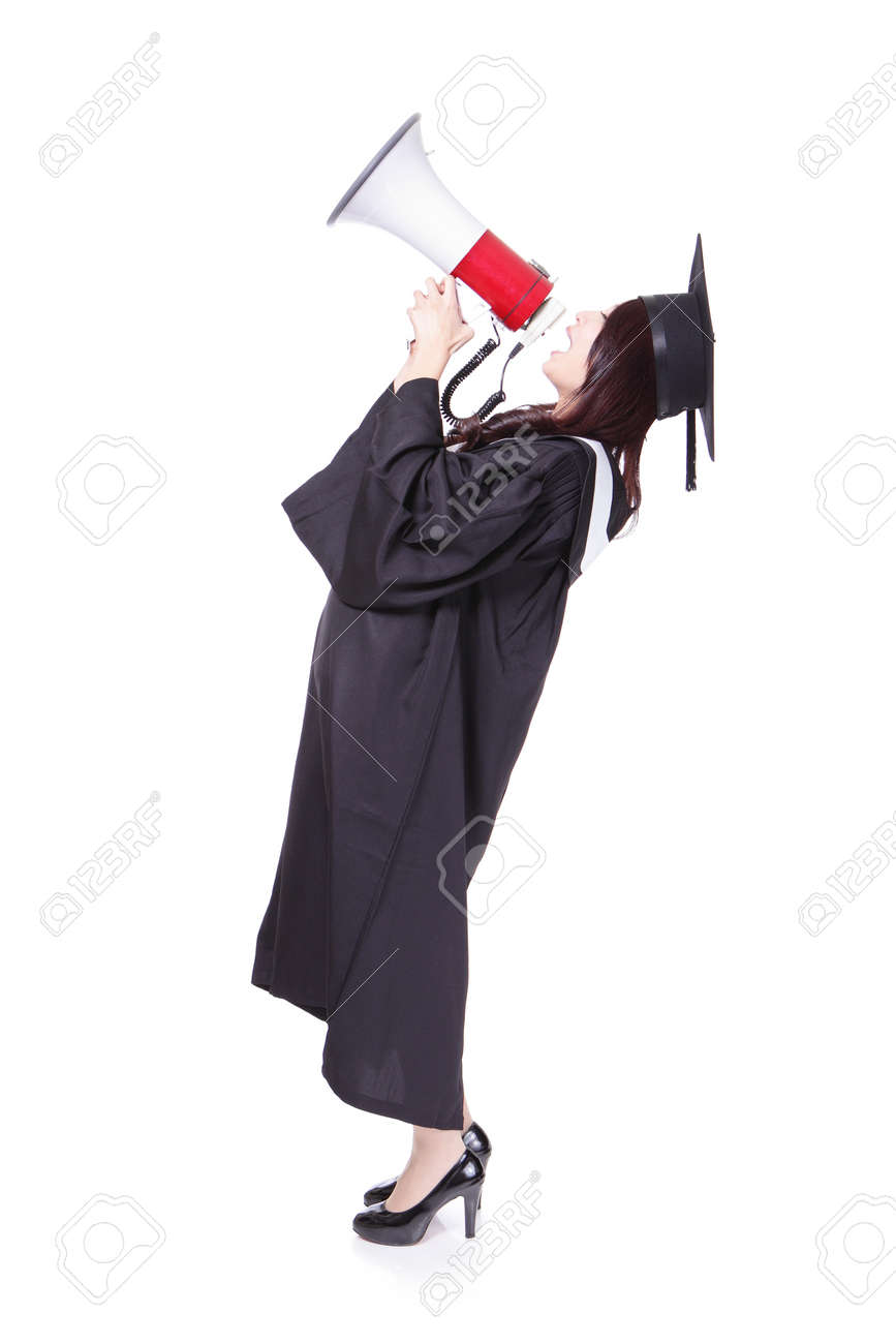 Girl Graduate Student Happy With Megaphone, Wear Graduation Cap ...