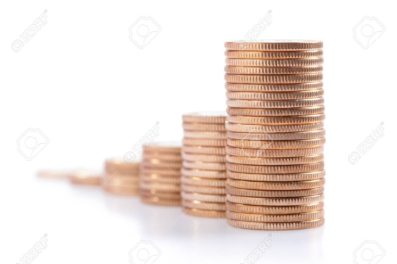 money stairs isolated over the white background Stock Photo - 19436813