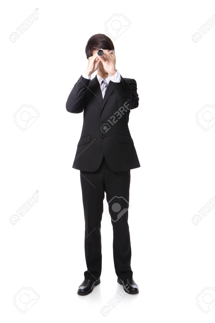 Businessman with telescope looking forward Prospects for future business Stock Photo - 20481715