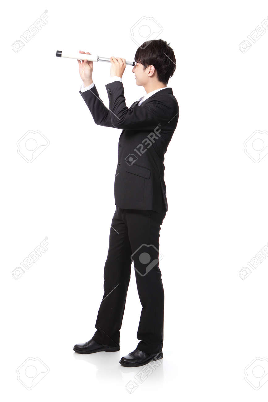 Businessman with telescope ( spyglass ) looking forward Prospects for future business. full length, isolated on white background, asian model Stock Photo - 20598755