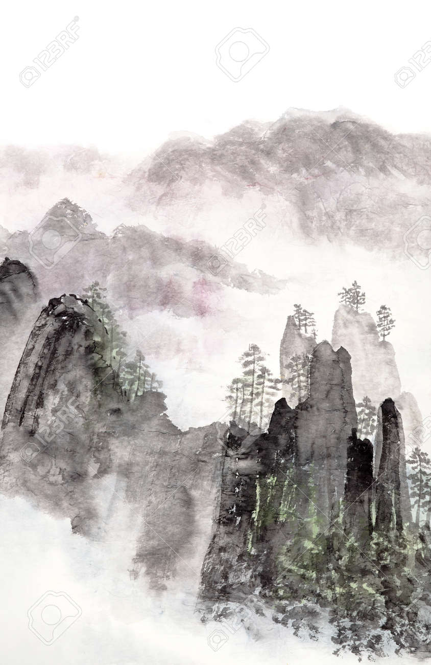 66c36374a Stock Photo - Traditional Chinese painting of high mountain landscape with  cloud and mist