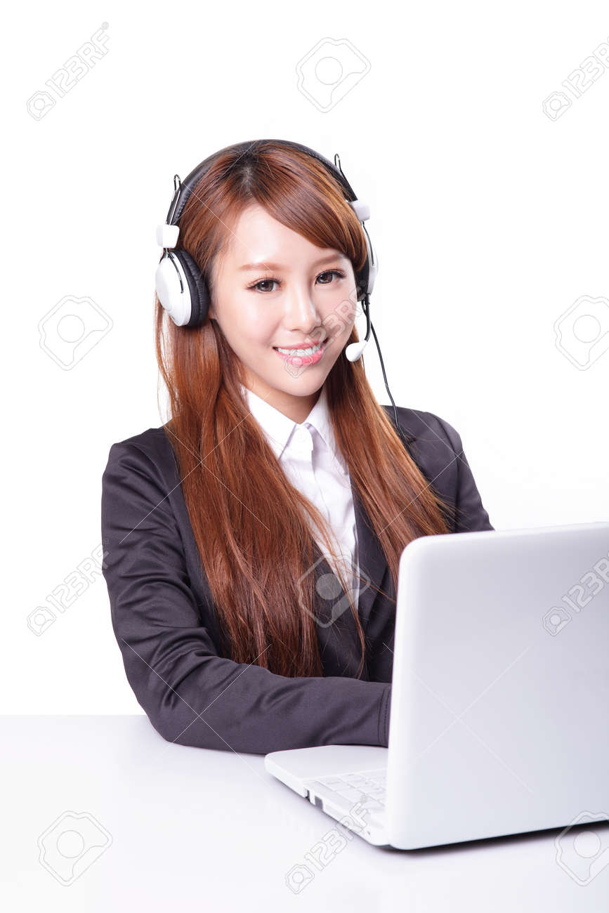 Friendly call center secretary consultant woman with headset telephone and pretty smile, isolated on white background, asian model Stock Photo - 21225924