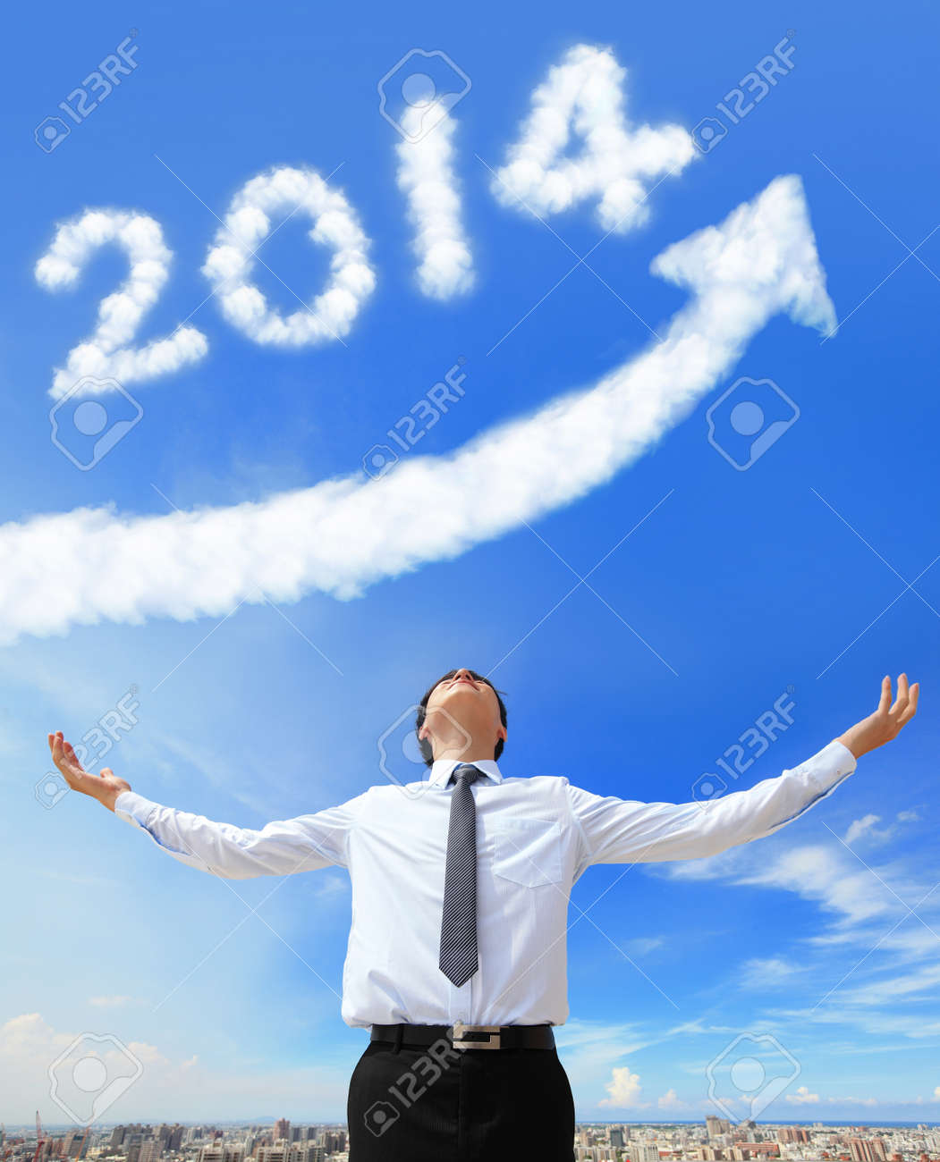 happy new year 2014, Business man hug 2014 (white cloud and blue sky on sunny day) Stock Photo - 21232761