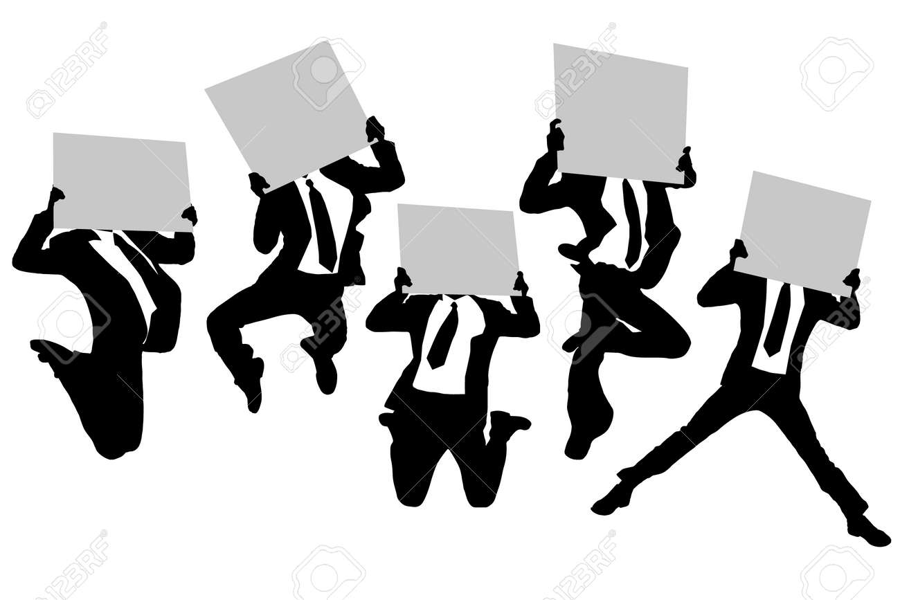 Running Man In Suit Silhouette Silhouettes of business man