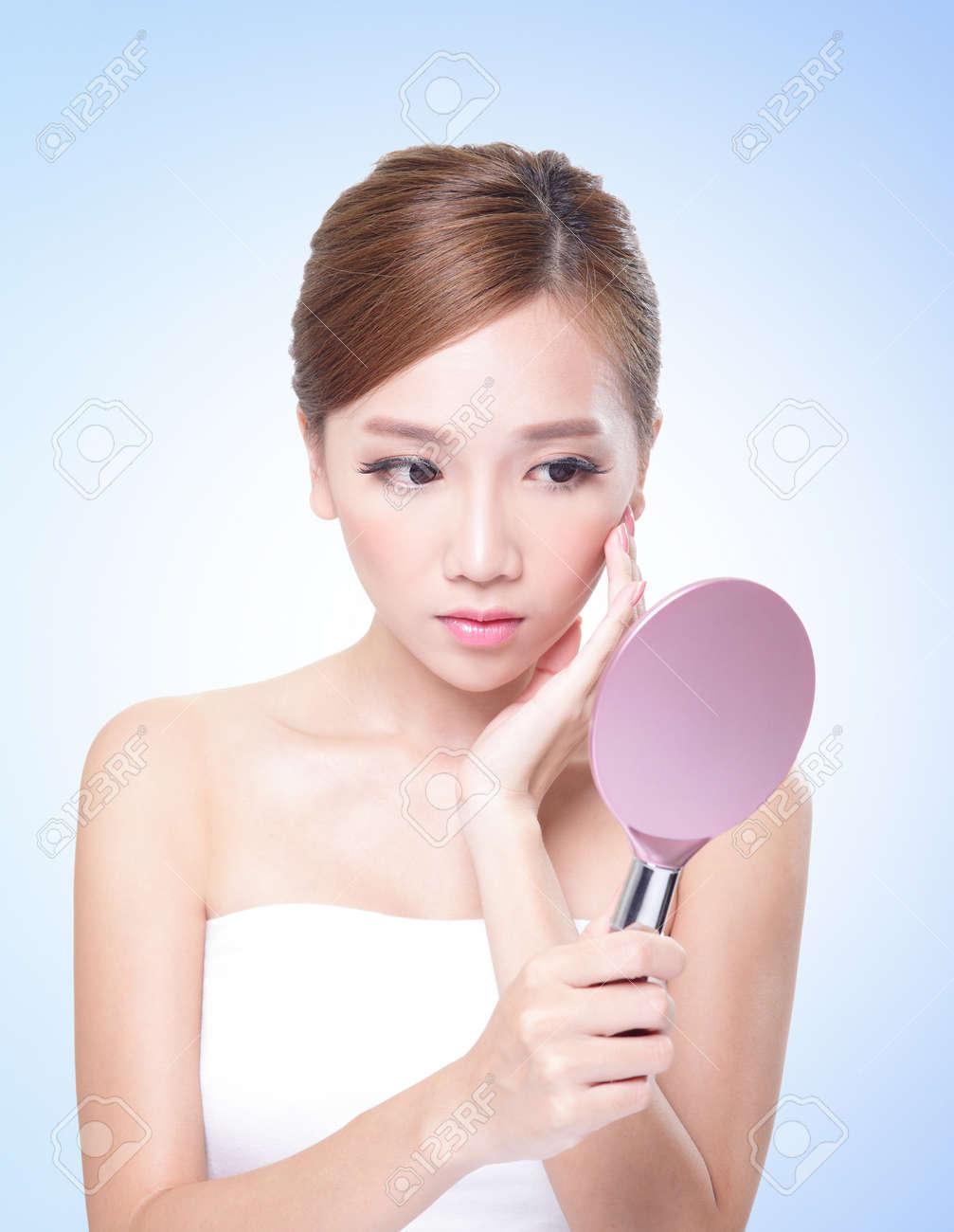Asian Beauty Skin Care Woman Face, Beautiful Young Woman Touching ...