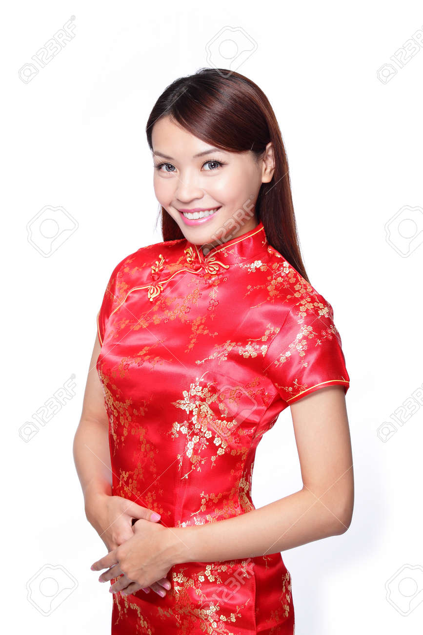 470fb59a0 happy Chinese new year. smile young Asian woman dress traditional cheongsam  Stock Photo - 24487984