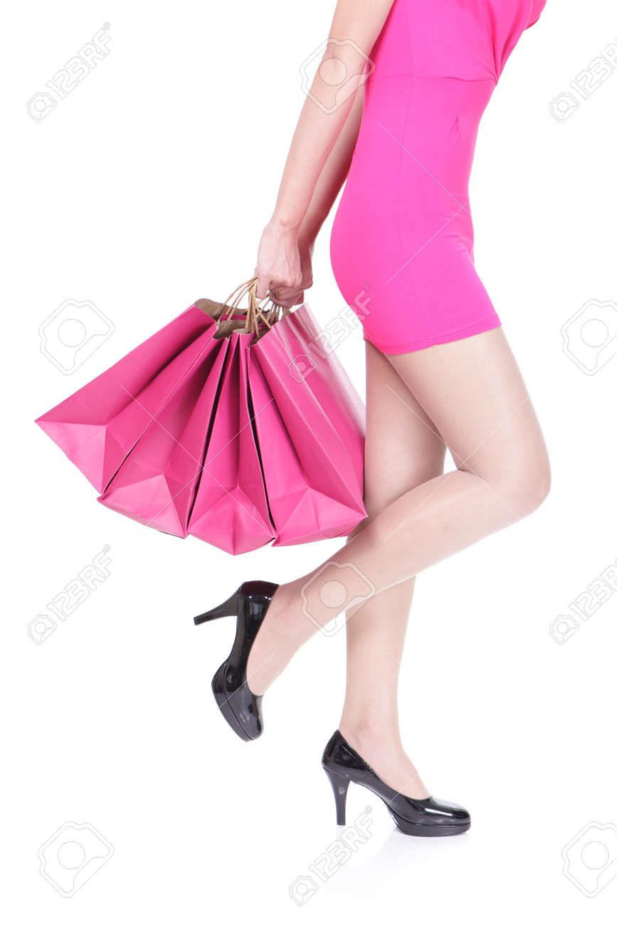 closeup picture of woman on high heels holding shopping bags Stock Photo - 24902790