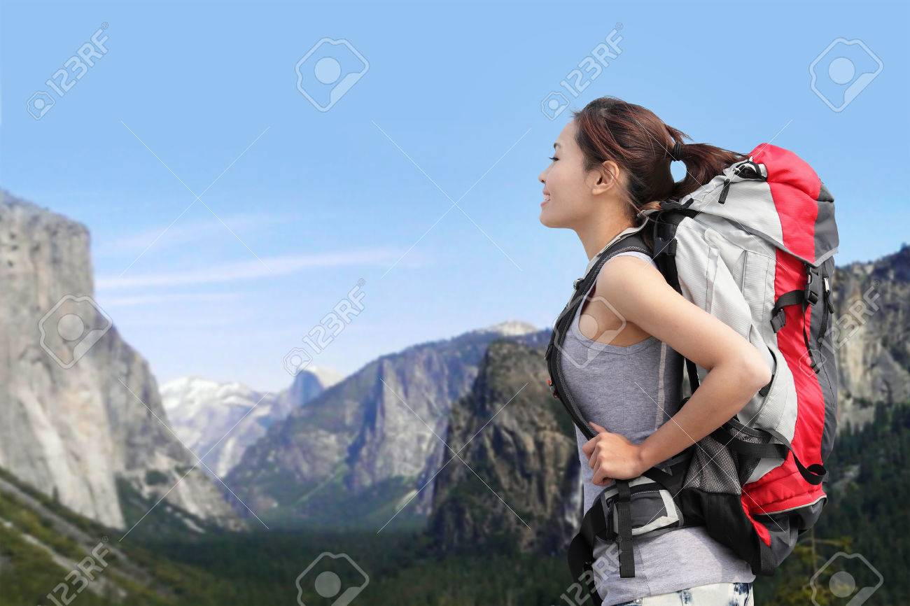 Travel In Yosemite Park, Woman Hiker With Backpack Enjoying View ...