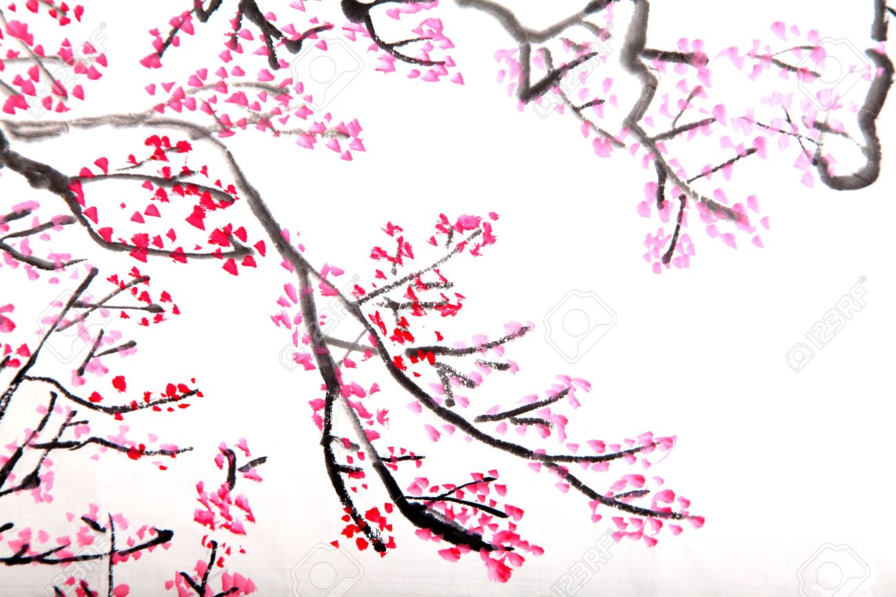 traditional chinese painting of flowers, plum blossom close up, Beautiful flower