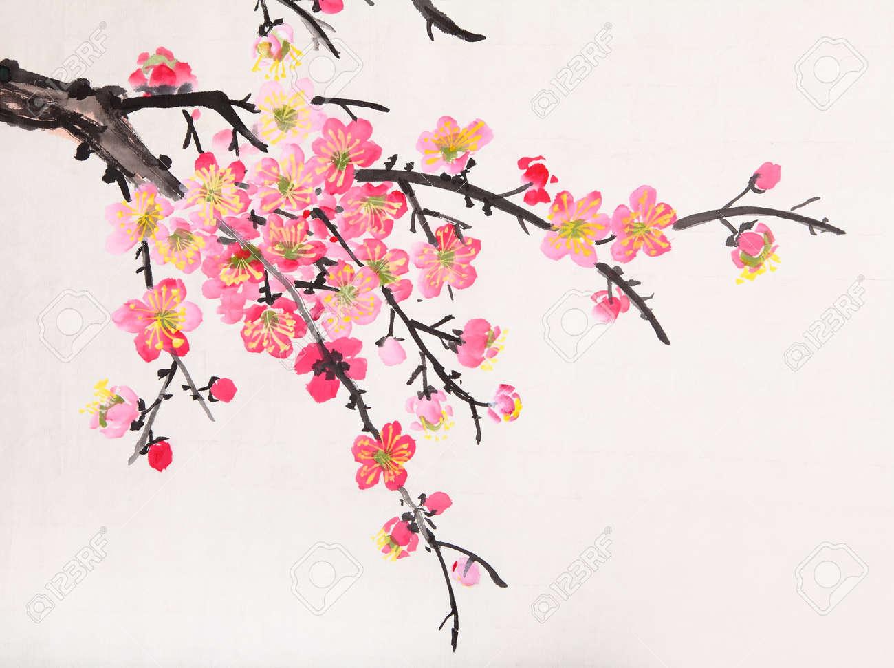 La Peinture Traditionnelle Chinoise De Fleurs La Fleur De Prunier