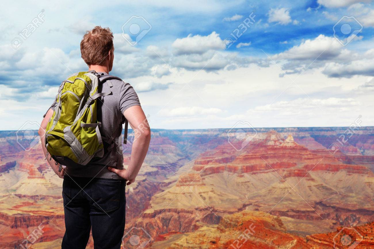 Travel In Grand Canyon , Man Hiker With Backpack Enjoying View ...
