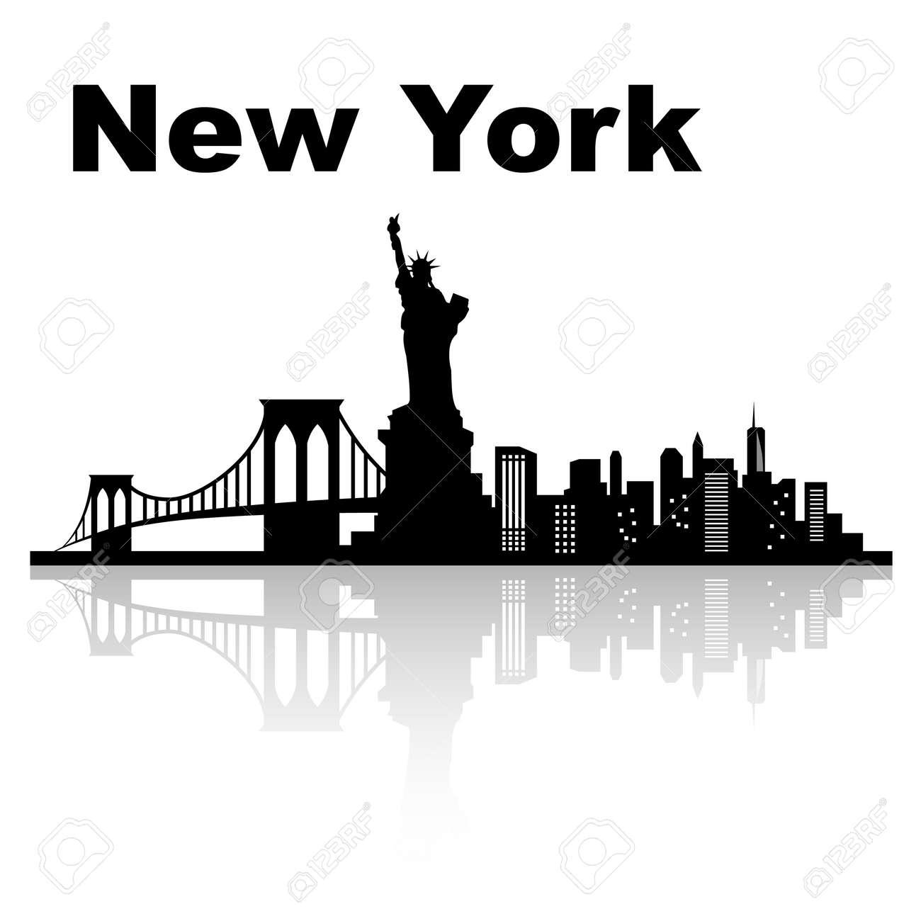 New york skyline - black and white vector illustration - 30073808