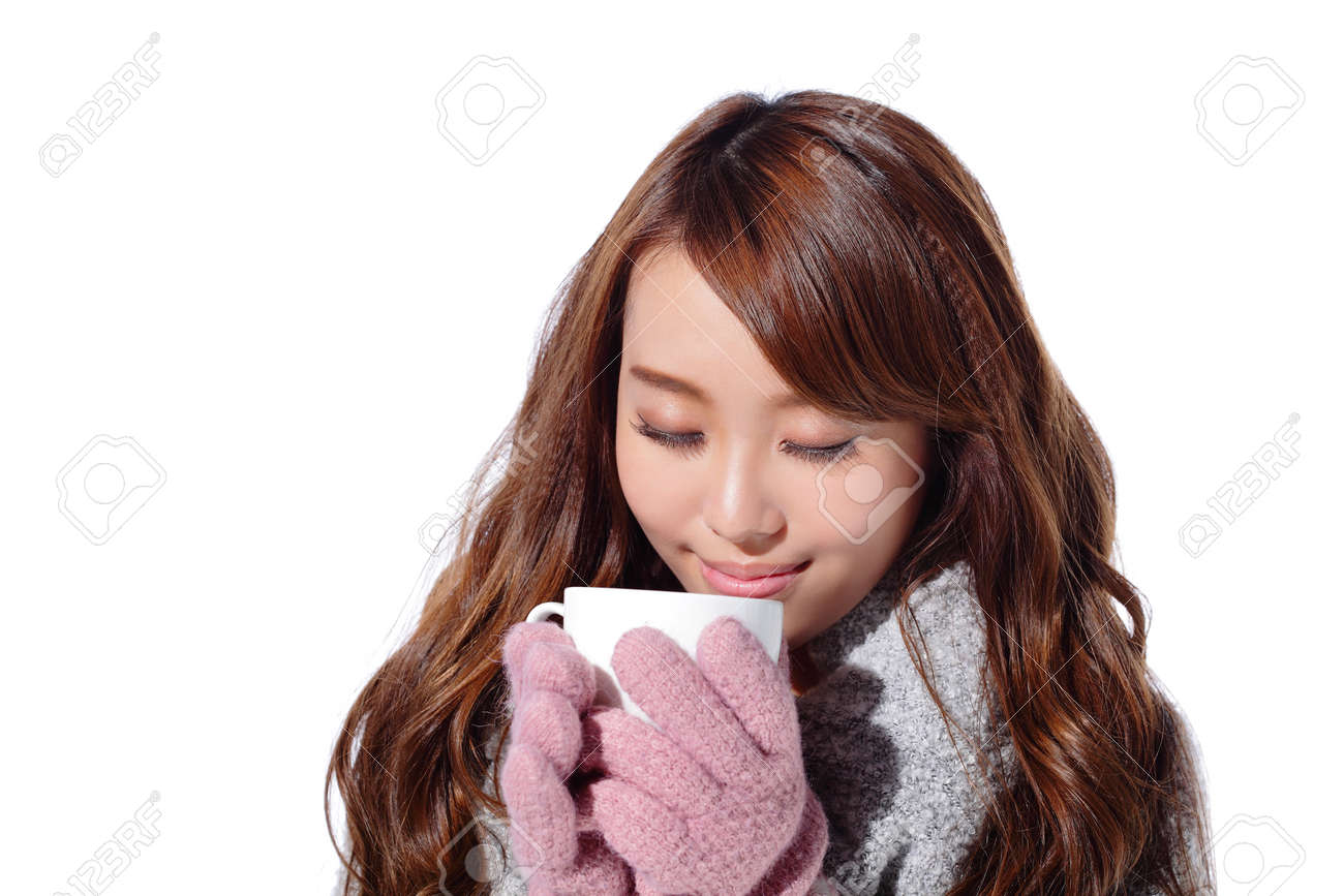 b0073b9920ff Smile Young Woman Holding Cup Of Coffee Or Tea And Wearing Winter ...