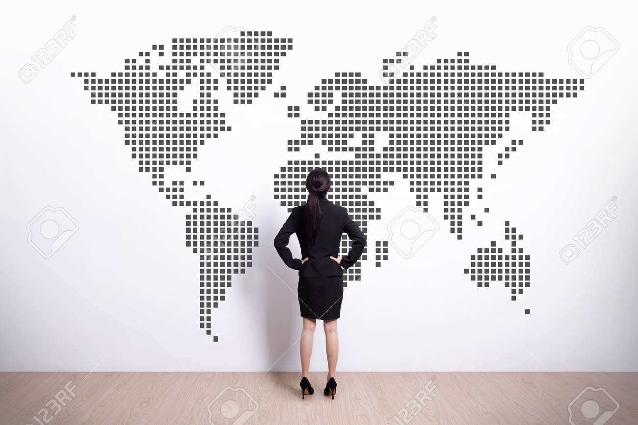 Back view of business woman look world map asian stock photo back view of business woman look world map asian stock photo 33670163 gumiabroncs Gallery