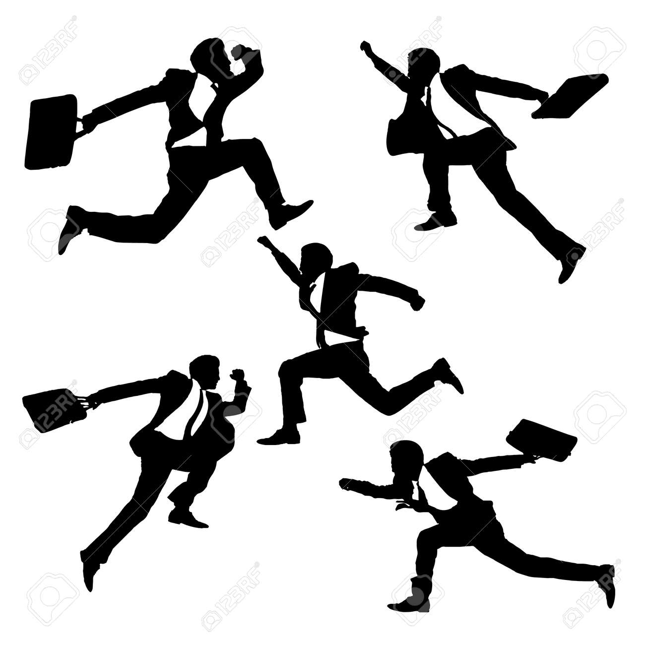 af645bfdae6d1 Silhouettes of happy jump and running Businessmen with white background Stok  Fotoğraf - 37043465