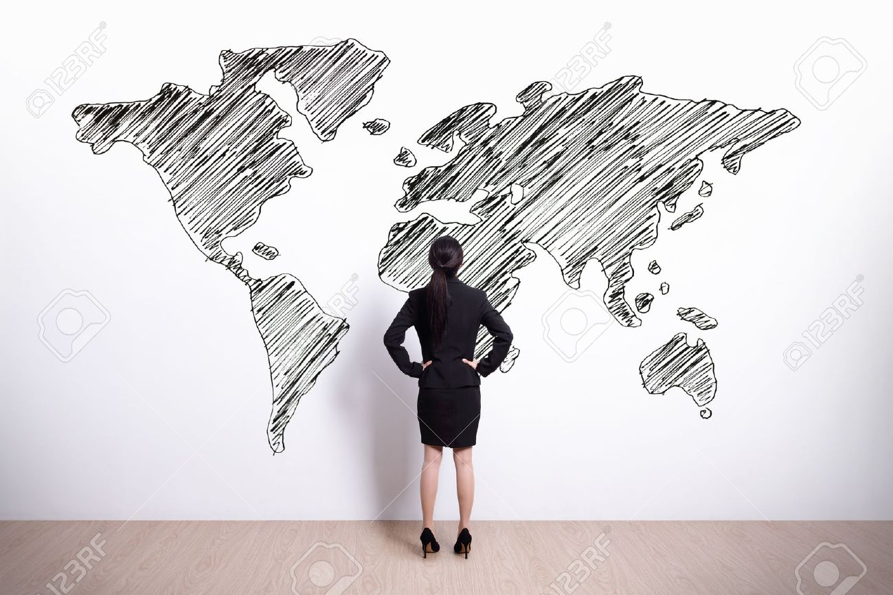 Back view of business woman look hand drawing world map asian stock back view of business woman look hand drawing world map asian stock photo 39447488 gumiabroncs Image collections