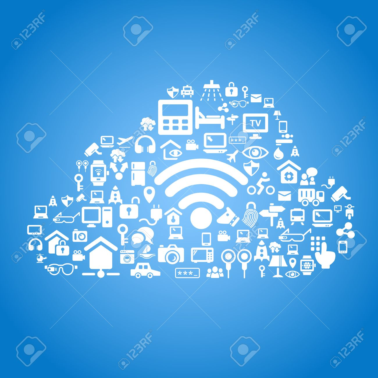 Internet Of Things And Cloud Computing Concept - Cloud Outline ...