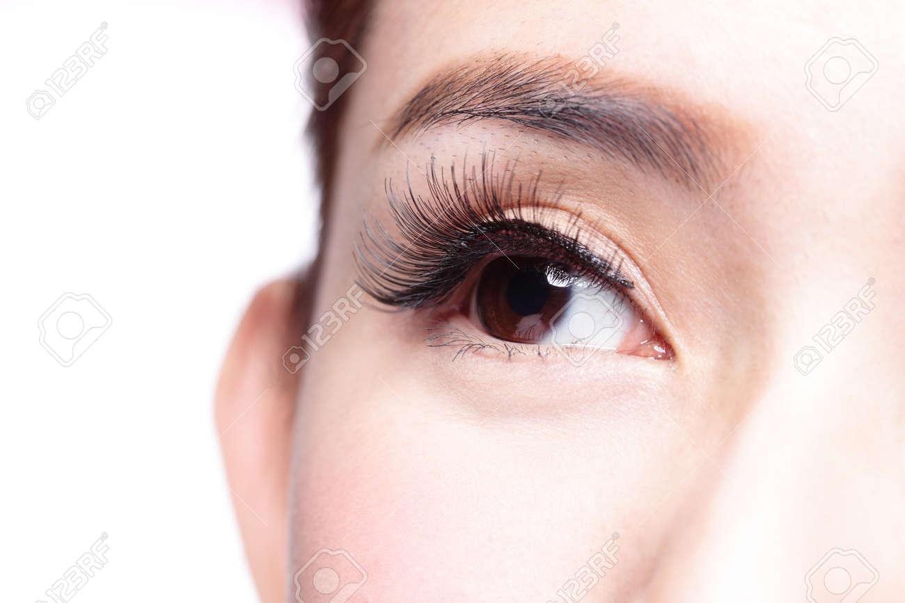 Beautiful Woman Eye With Long Eyelashes Asian Model Stock Photo