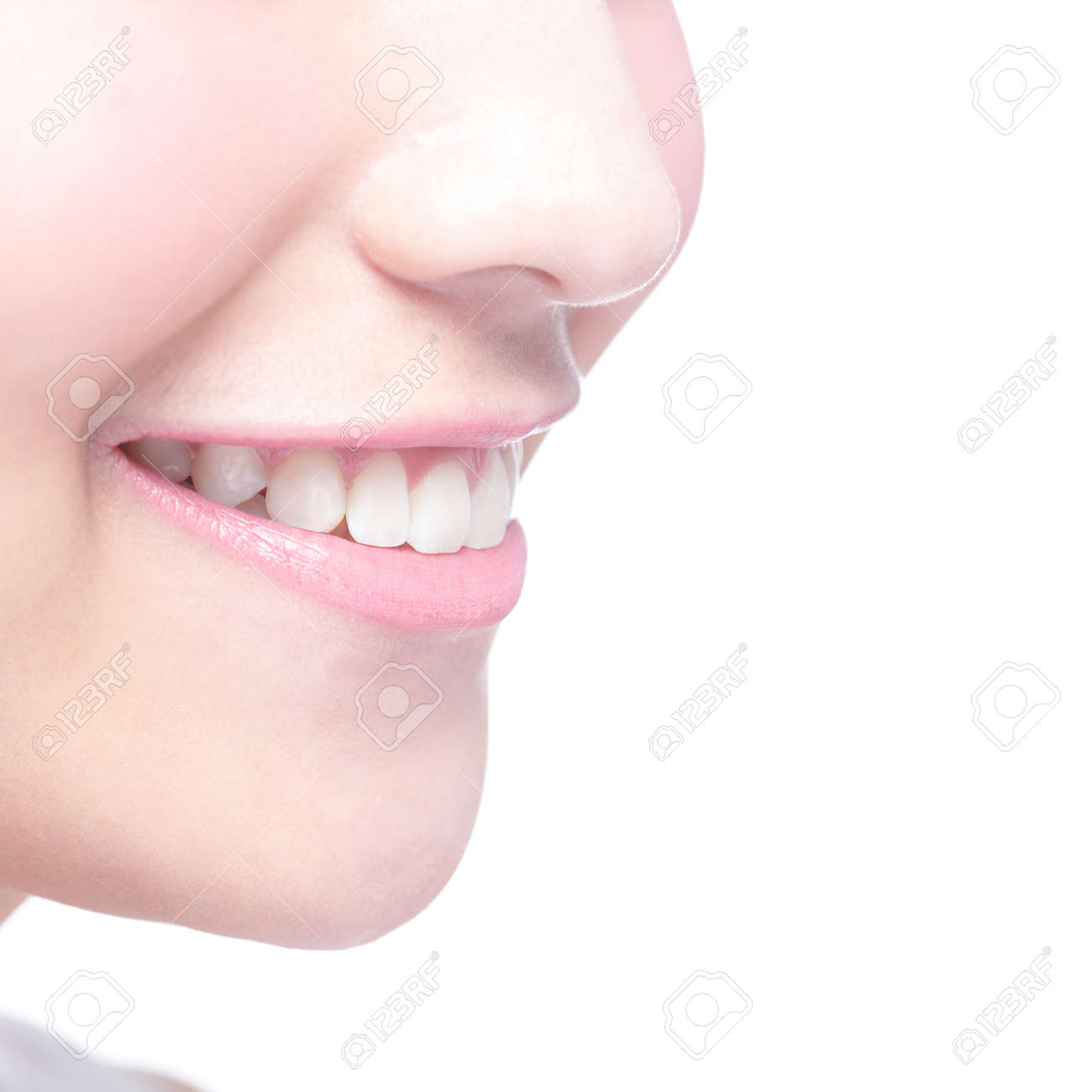 Beautiful young woman health teeth close up and charming smile. Isolated over white background, asian beauty - 40856167