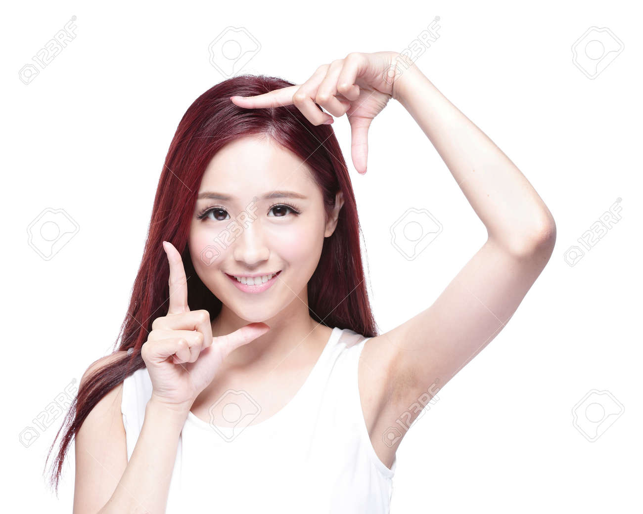 Beautiful Woman face and she making frame with hands with health skin, concept for skin care , asian beauty Stock Photo - 41547794