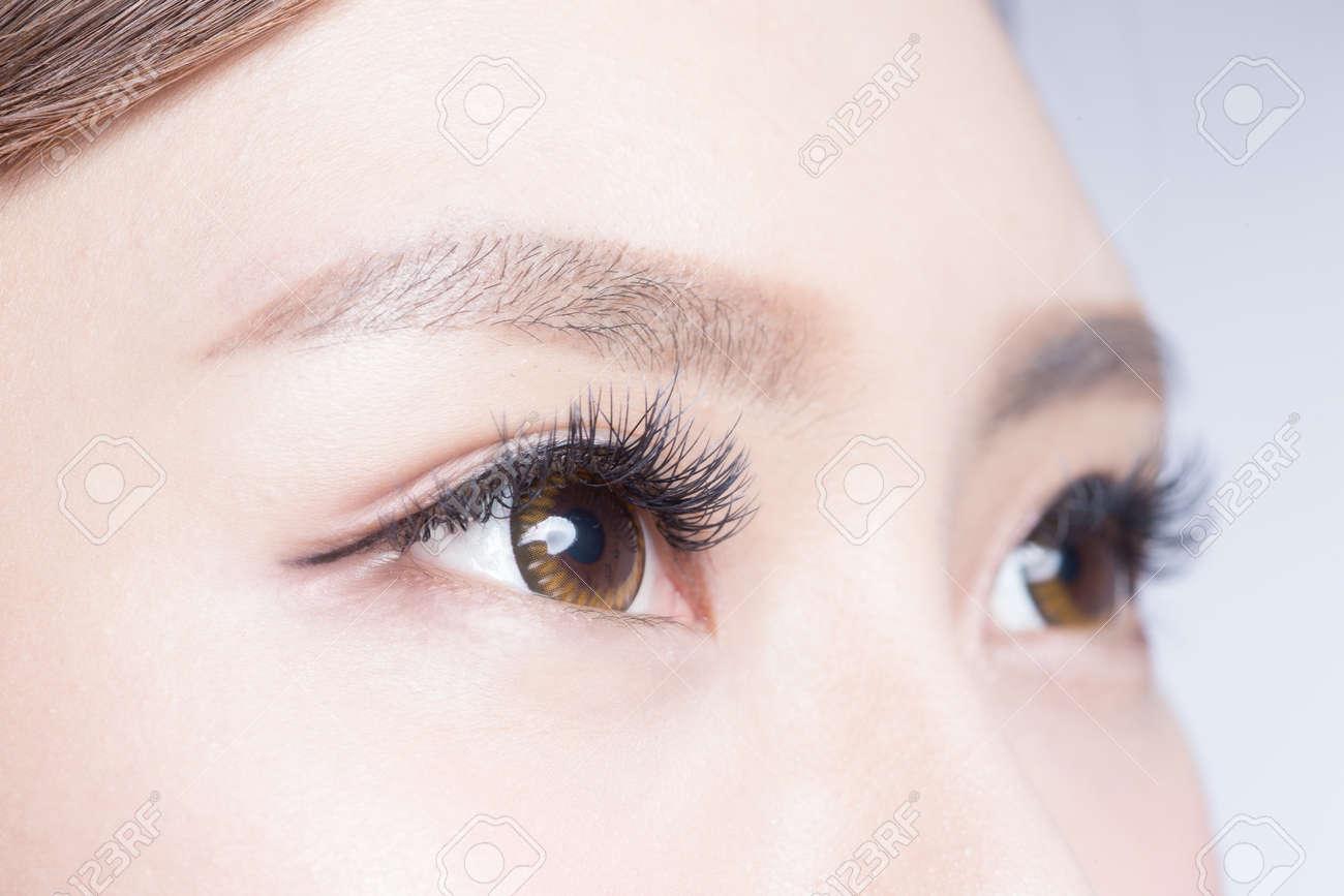 Beautiful Woman Eye With Long Eyelashes. Asian Model Stock Photo ...
