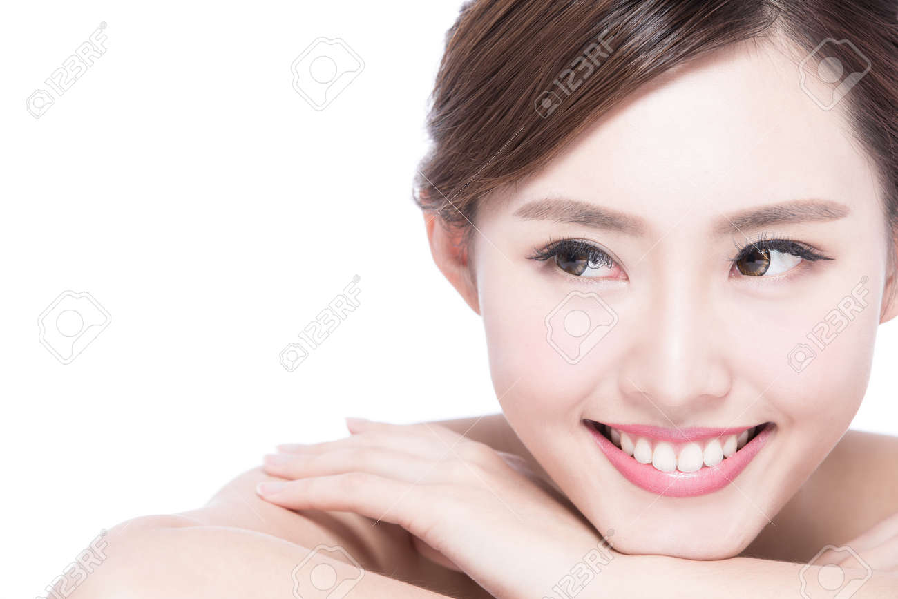 Charming woman face Smile to you close up while lying isolated on white background, asian girl - 50279653