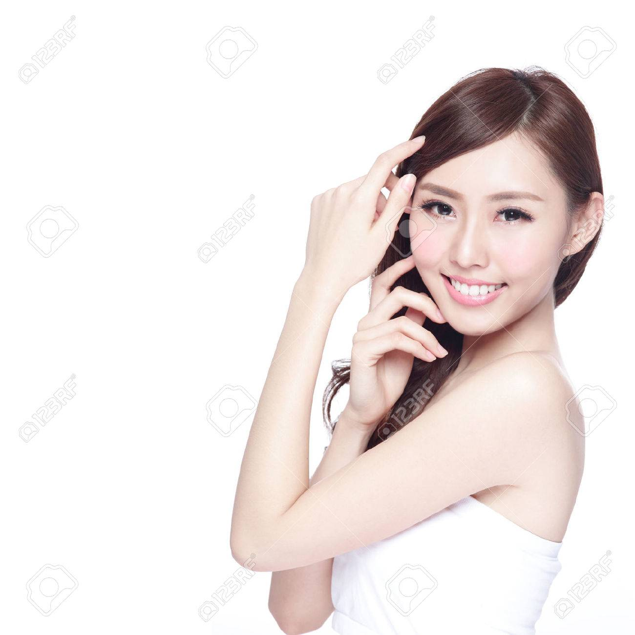 Beauty woman with charming smile to you with health skin, teeth and hair isolated on white background, asian beauty Stock Photo - 53522345