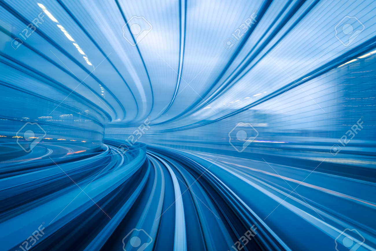 Subway tunnel with Motion blur of a city from inside, great for your design - 55828150