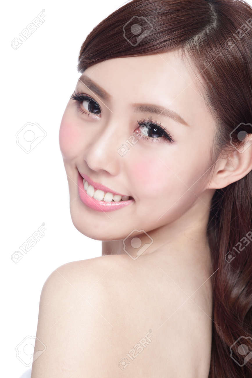 Beauty woman with charming smile to you with health skin, teeth and hair isolated on white background, asian beauty - 56903079