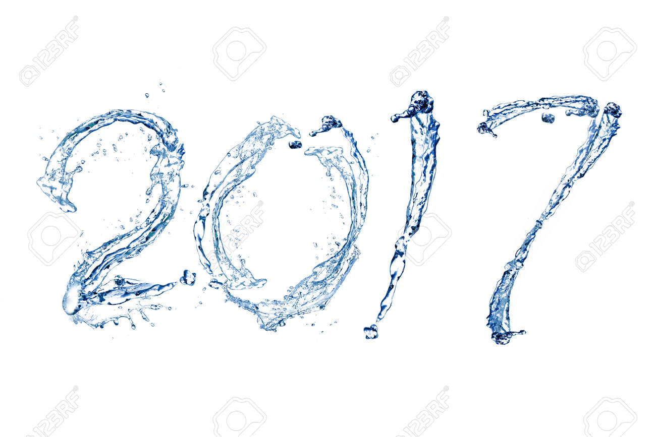 Happy New Year 2017 by Pure splash of water isolated on white background Standard-Bild - 65012419